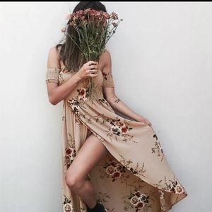 Smocked Floral off shoulder maxi sundress